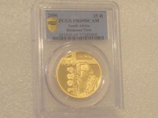 2006 SOUTH AFRICA PROTEA DESMOND TUTU 25 RAND GOLD PROOF 1oz COIN PCGS