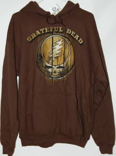 Grateful Dead Steal Your Face Wood Carved design brown Hoodie by