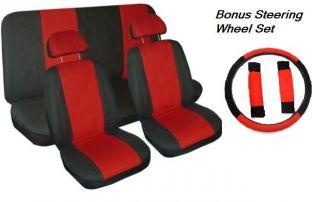 Full Set Red & Black 11pc Car Seat Covers Bonus Steering Wheel Cover