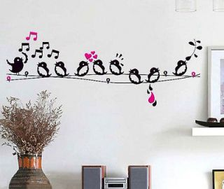 Bird Singing On The Wire / Music Notes Removable Wall Sticker Home