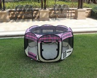 New large Pink Plaid Pet Dog Cat Tent Playpen Exercise Play Pen Soft