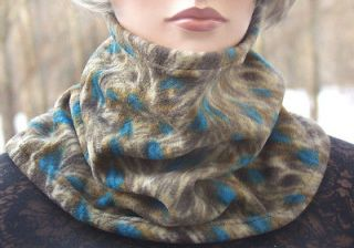 Peacock Bird Feathers Print Flared Fleece Neck Warmer Cowl Tube Scarf