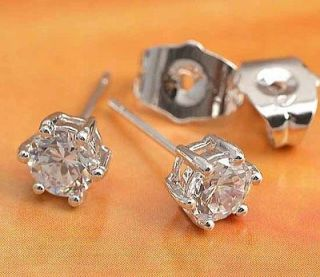 No Allergy 9K White Gold Filled CZ Stud Earrings Round 6mm,Age 12 60