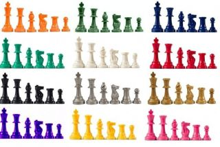 Chess Pieces Blue Red White Black Purple Pink Green Orange Silver Gold