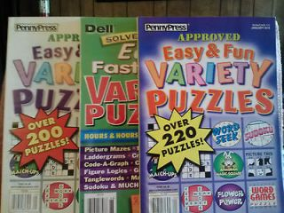 Easy & Fun & Solvers Choice Easy FastnFun Variety Puzzle Books NEW