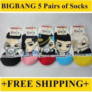 Bigbang Socks 5 pairs Character Socks BIG BANG *NEW* IDOL KPOP