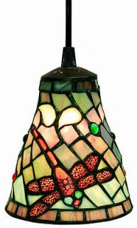 Red Green White Dragonfly Stained Glass Tiffany Hanging Mini Pendant