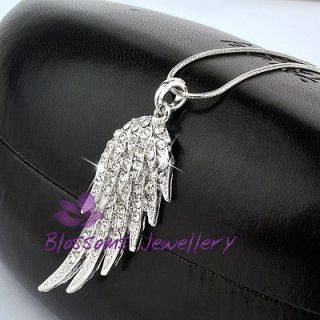 18K White GOLD Layered ANGEL WING Pendant Necklace SWAROVSKI CRSYTAL