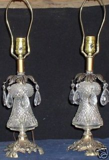 PAIR OF HOLLYWOOD REGENCY CRYSAL GLASS ABLE LAMPS ear Drop Prisms