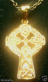 Sterling Silver Celtic Cross Pendant Necklace Irish Made chain b v