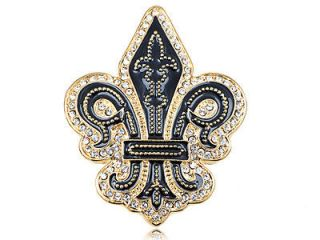Crystal Elements Medieval Knight Time Fleur De Lis Fashion Pin Brooch