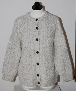 INIS CRAFTS Knit Wool Ireland Fisherman Beige Cardigan Sweater Coat M