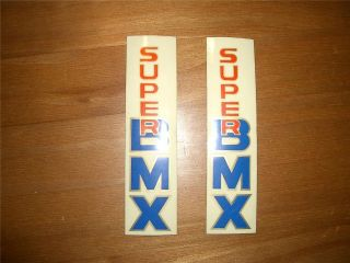 NOS Vintage Old School BMX Bike Super BMX Sticker Set Fork Leg