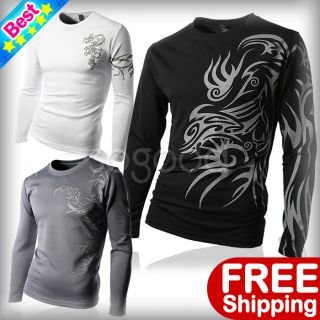 Mens Slim Fit Coolon Casual Tattoo sports T Shirts Long Sleeves