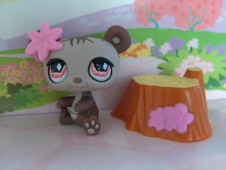 NEW LITTLEST PET SHOP GRIZZLY GIRL BEAR PINK EYES SET #594 FREE HOUSE