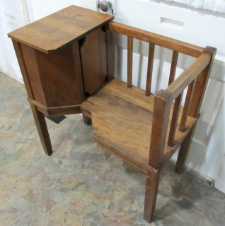 Vintage Mission Oak Arts & Crafts Telephone Seat/ Stand, Gossip Bench