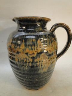 VINTAGE SOUTHERN POTTERY LARGE PITCHER JUG FOLK ART NC GA SIGNED