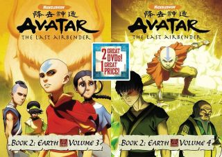 Avatar The Last Airbender   Book 2   Earth, Vols. 3 4 DVD, 2010, 2
