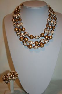 SIGNED DOUBLE STRAND OF WHITE & GOLD BEADED NECKLACE & EARRINGS