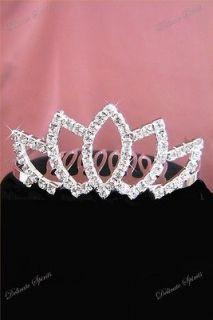 Rhinestone Flower Girl Wedding Bridal Prom Bridesmaid Small Tiara Comb