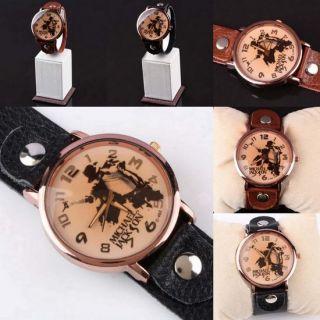 Michael Jackson MJ Memorial Leather Cuff Adjustable Wrist Watch Clock