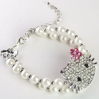 hello kitty pink bloom crystal rhinestone bracelet bl01 from china