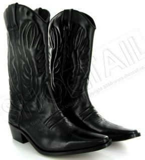 mens calf length leather cowboy boots black size 6 11