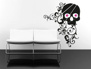Wall Art sticker transfer bedroom,lounge​,skull flowers, metal, punk