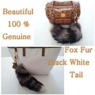 100 % genuine fox fur tail black white color torn accessory
