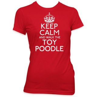 KEEP CALM AND WALK THE TOY POODLE GIRLS PET DOG T SHIRT KIDS GIFT TOP