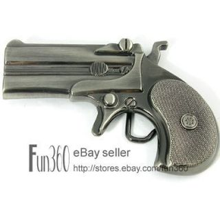Western Cowboy Military Derringer Gun Handgun Pistol Metal Belt Buckle
