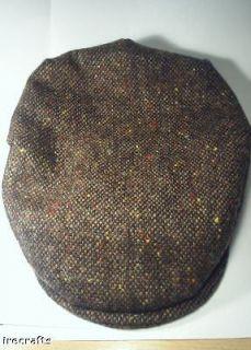 Traditional Irish Brown Tweed Wool Flat Cap Hat Ireland sz XL M L v