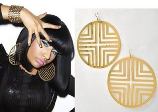 Fatima Metal Gold Hoop Dangle Earrings Nicki Minaj Basketball Wives