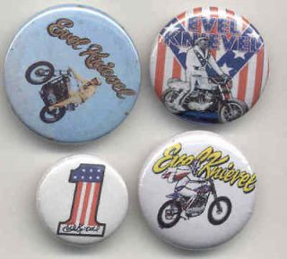 Evel Knievel buttons 70s biker stunt man motorcycle hero American pop