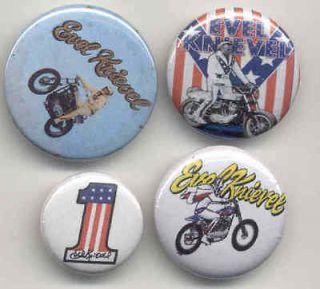 Evel Knievel buttons 70s biker stunt man motorcycle hero American pop