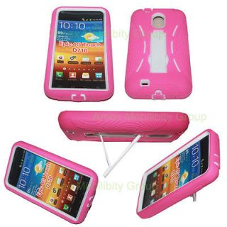 SPRINT SAMSUNG GALAXY S2 EPIC 4G TOUCH PINK WHITE HEAVY DUTY CASE