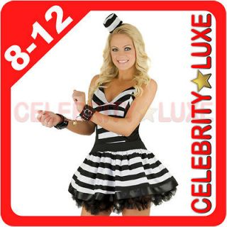 Prisoner Convict Black White Fancy Dress Up Costume Hat S M L 8 10 12
