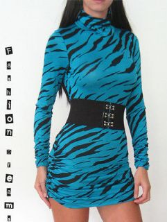 BLUE ZEBRA ANIMAL PRINT LONG SLEEVE TURTLENECK RUCHED STRETCH MINI