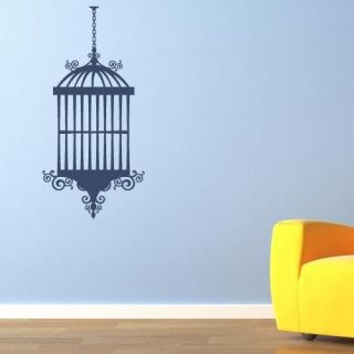 Funky bird cage decorative vinyl wall art sticker decal home interior