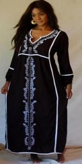 A209S BLACK WHITE/DRESS MAXI CAFTAN OS M L 1X 2X EMPIRE EMBROIDERED