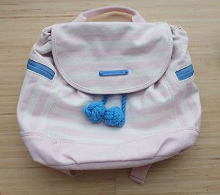 Juicy Couture Girls Nautica Striped Canvas Backpack Pink NWOT