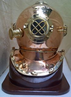 DIVER DIVING HELMET US NAVY MARK V BRASS DIVER HELMET WITH BASE