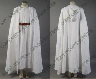 The Lord of the Rings Gandalf Costume White Robe Cape With Belts