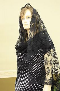 Ivory rectangle lace veil mantilla Catholic scarf latin Mass