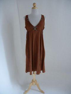 BOTTEGA VENETA Brown Empire Waist V neck Rope Trim Silk SLIP DRESS 44