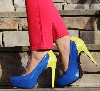 Simply Vera Wang Womens Dani Blue Green Platform High Heels Shoes