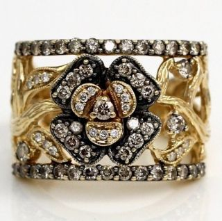 LeVian Ring Chocolate/Clear Diamond 14K Yellow Gold Wide Flower Size 7