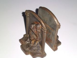 Vintage Cast Iron Circa 1920s THE THINKER Bookends Book Ends