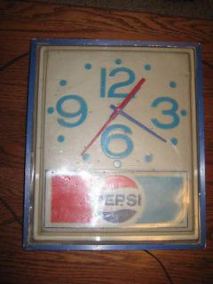 Vintage PEPSI Lighted Clock Soda Pop Works! Measures 13 X 16 1950s?