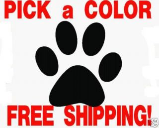 dog paw print pad vinyl decal sticker pick size color